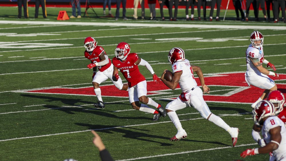Redshirt sophomore quarterback Michael Penix Jr. scrambles for a gain Oct. 31 at SHI Stadium in Piscataway, New Jersey. Penix ran for 20 yards and scored one touchdown in No. 17 IU's 37-21 victory over Rutgers.