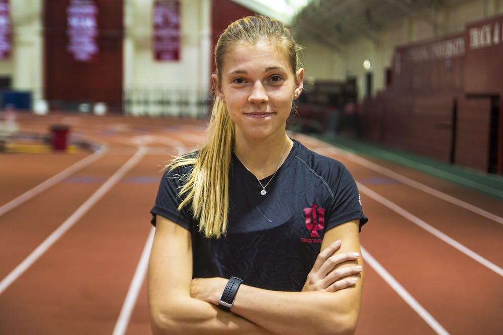 <p>Sophomore Bailey Hertenstein stands Oct. 24 in Gladstein Fieldhouse. The Florida native has received multiple honors this season, including National Athlete of the Week by the U.S. Track and Field and Cross Country Coaches Association after winning the Commodore Classic in her first race of the season.</p>