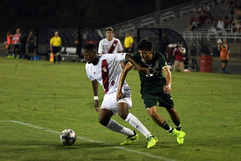 Freshman forward Mason Toye drives to the South Florida goal on Sunday night at Bill Armstrong Stadium. IU opened Big Ten play with a 0-0 draw at No. 5 Maryland Friday night.