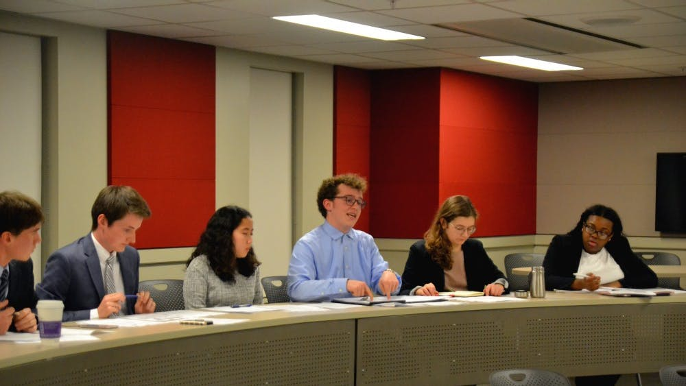 Associate Justice of the IUSG Supreme Court Eli Schantz speaks Nov. 1 at the hearing of Blue Matthews v. Voice Executive Board. The hearing dealt with concerns over budgeting.
