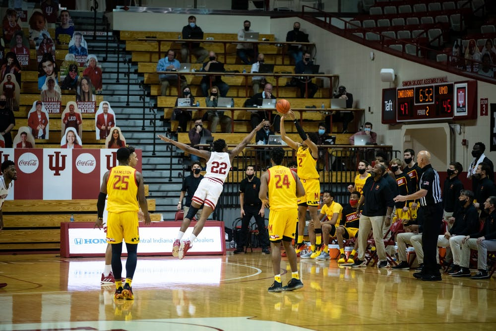 <p>Freshman forward Jordan Geronimo goes in for a block Jan. 4 at Simon Skjodt Assembly Hall. Geronimo announced Monday that he would be staying at IU for the 2021-22 season after entering the transfer portal in March. </p>