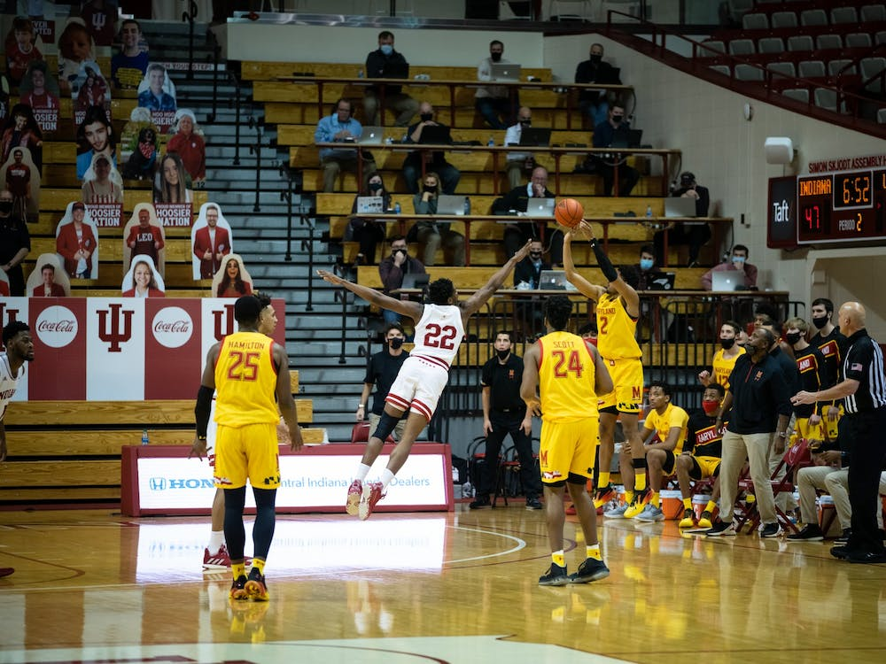 Freshman forward Jordan Geronimo goes in for a block Jan. 4 at Simon Skjodt Assembly Hall. Geronimo announced Monday that he would be staying at IU for the 2021-22 season after entering the transfer portal in March.