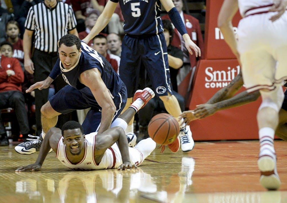 Sophomore Stan Robinson loses the ball during the second half of IU's game against Penn State on Tuesday at Assembly Hall.
