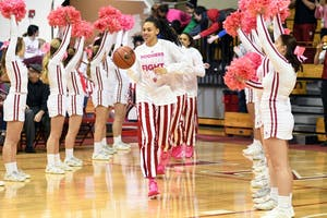 Then-sophomore forward Bre Wickware leads Indiana onto the court against Illinois on February 8 at Simon Skjodt Assembly Hall. Wickware announced she will be transferring from the program on Monday.