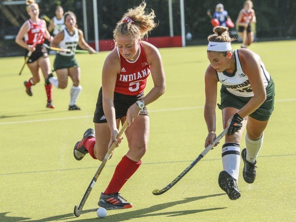 Then-freshman forward Hailey Couch keeps the ball away from Michigan State back Baily Higgins on Oct. 5, 2018, at the IU Field Hockey Complex. IU defeated Central Michigan University and Davidson University to start the season 2-0.