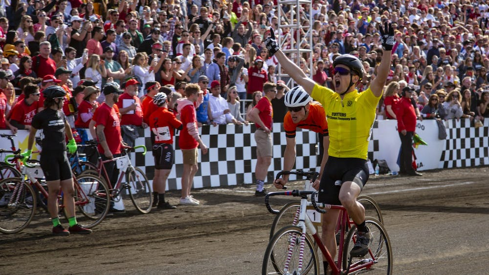 Then-senior Noble Guyon crosses the finish line for the Cutters, winning the 2019 men's Little 500 on April 13, 2019, at Bill Armstrong Stadium. Little 500 races are typically in April, but were rescheduled to May 26 in order to avoid potential COVID-19 outbreaks while students are still on campus.