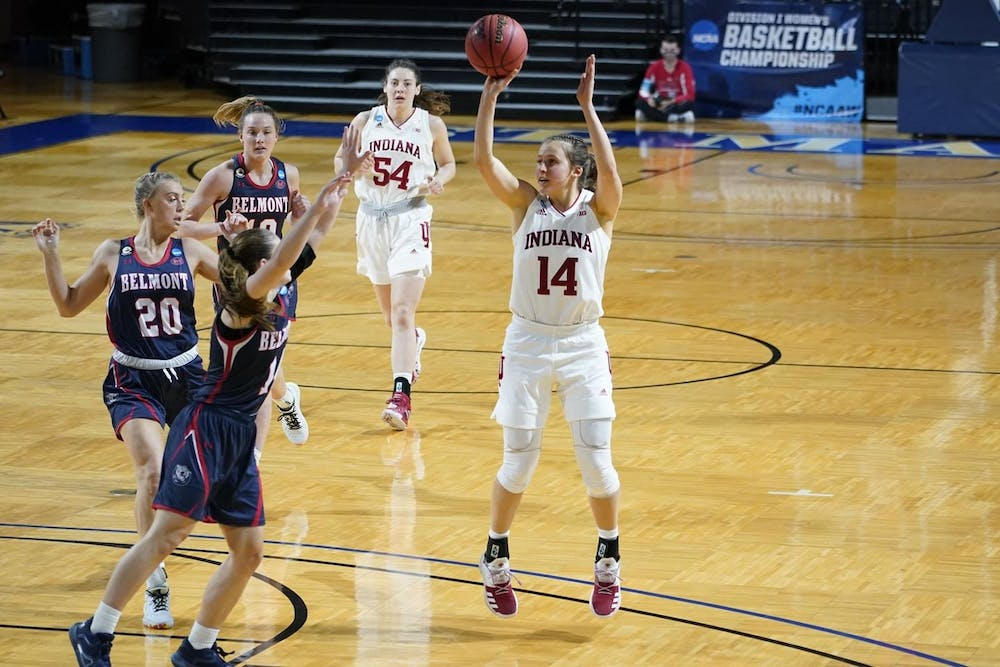 <p>Senior Ali Patberg prepares to shoot the ball in a game against the Belmont Bruins on March 24 during the NCAA Tournament in San Antonio, Texas. The Hoosiers finished their season with a 53-66 loss to the Arizona Wildcats on March 29.</p>