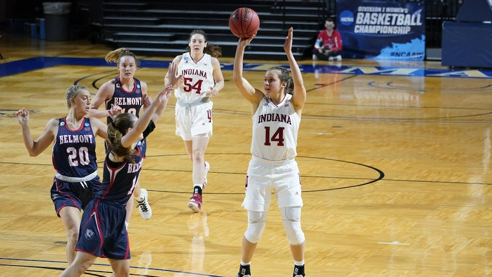 Senior Ali Patberg prepares to shoot the ball in a game against the Belmont Bruins on March 24 during the NCAA Tournament in San Antonio, Texas. The Hoosiers finished their season with a 53-66 loss to the Arizona Wildcats on March 29.