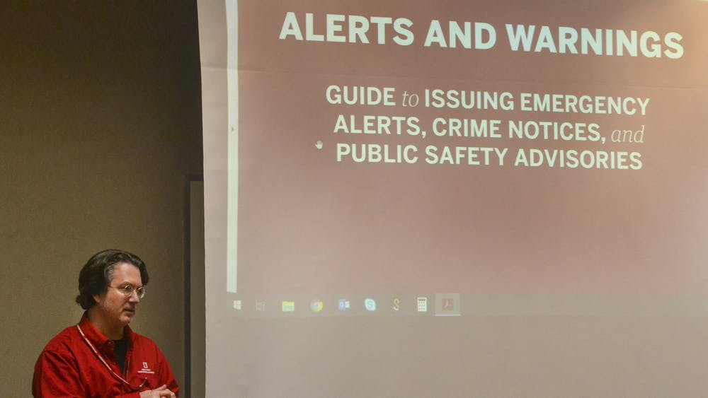 Richard Erny, director for Public Safety Compliance, speaks March 4 in the Sassafras Room in the Indiana Memorial Union. Erny talked about what steps IU takes when issuing IU-Notify alerts.