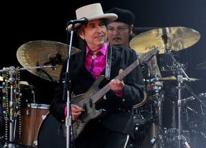 Bob Dylan performs in 2010 in London. Dylan won a Nobel Prize in Literature in 2016.