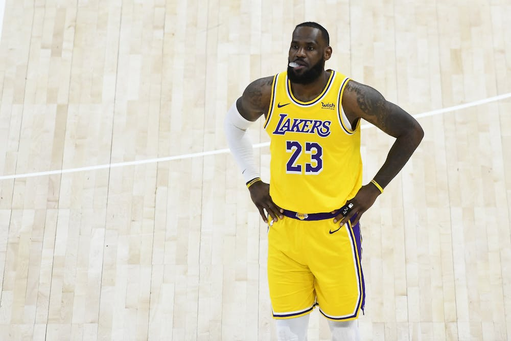 <p>LeBron James of the Los Angeles Lakers in action during a game against the Utah Jazz at Vivint Smart Home Arena on Wednesday, February 24, 2021 in Salt Lake City, Utah. The Lakers lost to the Phoenix Suns in the first round of the NBA playoffs Thursday.</p>