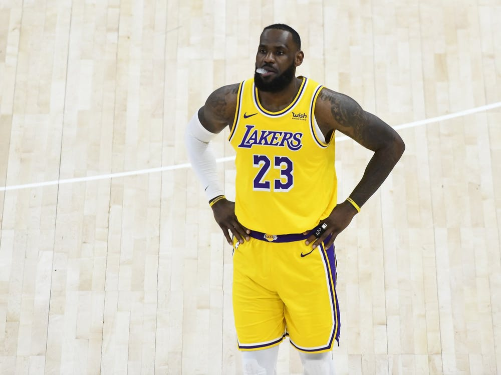 LeBron James of the Los Angeles Lakers in action during a game against the Utah Jazz at Vivint Smart Home Arena on Wednesday, February 24, 2021 in Salt Lake City, Utah. The Lakers lost to the Phoenix Suns in the first round of the NBA playoffs Thursday.