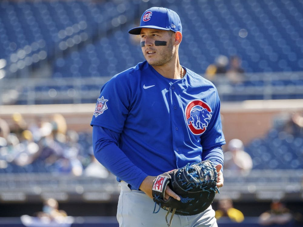 Chicago Cubs first baseman Anthony Rizzo walks to the dugout during a spring training game against the San Diego Padres on March 1. Thursday is Opening Day for MLB.