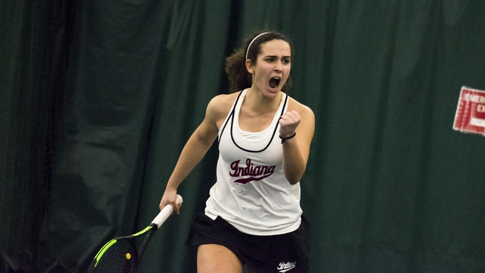Then-freshman, now sophomore, Jelly Bozovic celebrates winning a point during her win March 3, 2018, over Miami University. IU won 4-3 against DePaul University on Feb. 24.
