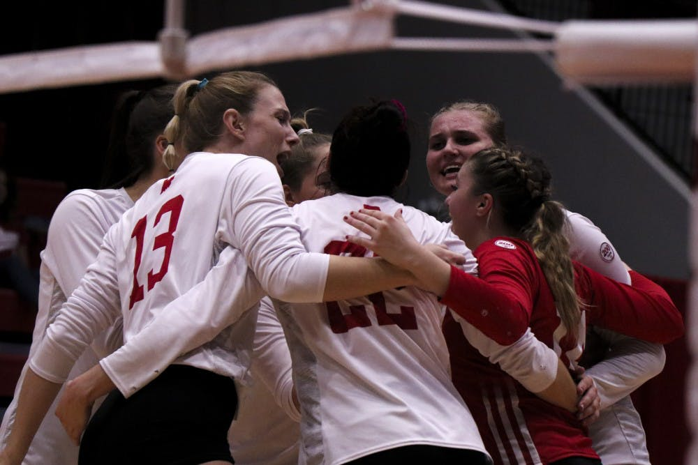 <p>IU celebrates a crucial point against Northwestern on Oct. 5 at Wilkinson Hall. IU will play No. 5 Nebraska at 8 p.m Friday in Wilkinson Hall.</p>