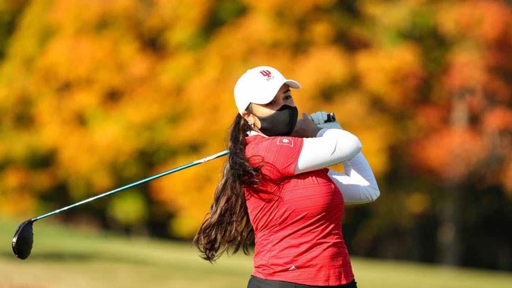 Senior Mary Parsons finishes her swing during a fall 2020 practice. The IU women's golf team finished in 18th place at the Clemson Invitational this weekend in Sunset, South Carolina.
