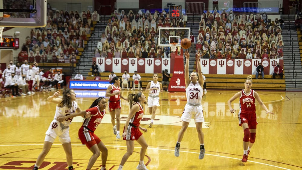 Junior guard Grace Berger takes a jump shot Jan. 28 in Simon Skjodt Assembly Hall. No. 16 IU led No. 14 Ohio State 39-38 at halftime Thursday night.