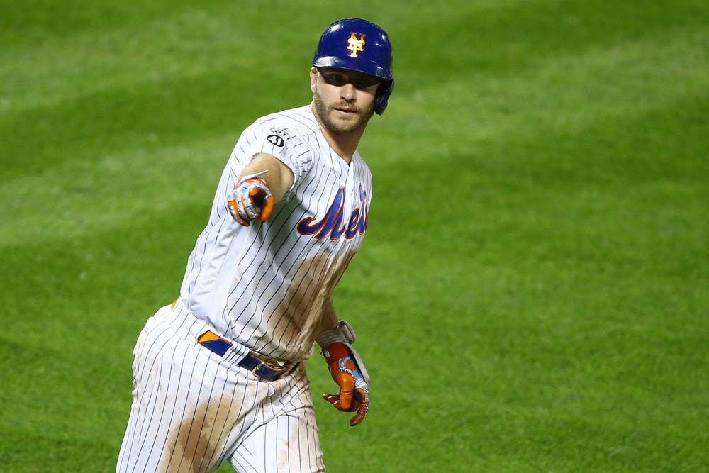 <p>Pete Alonso of the New York Mets points to the bench after hitting a home run in the eighth inning against the Baltimore Orioles in a Sept. 9, 2020 game at Citi Field in New York City. Alonso participated in MLB&#x27;s Home Run Derby on Monday.</p>