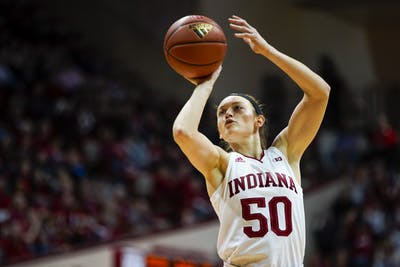Senior Brenna Wise shoots a free throw Feb. 16 at Simon Skjodt Assembly Hall. IU defeated Minnesota 75-69 Feb. 22.