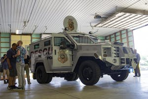 The Lenco BearCat armored vehicle sits parked on display July 10 in the Switchyard Operations building. The viewing was the first official unveiling of BPD's new armored vehicle to the public.