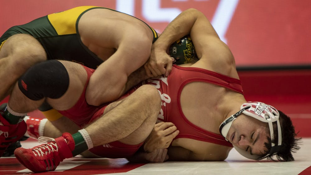Senior Fernando Silva wrestles Nov. 22 in Wilkinson Hall. The Hoosiers faced North Dakota State University in their home opener when they lost 12-26.
