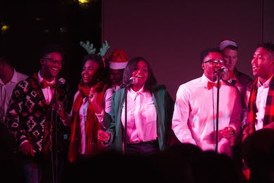 Singers clap and dance to the beat as they perform during IU Soul Revue's Soulful Holiday Concert on Dec. 8, 2015, in the Neal Marshall Black Culture Center Grand Hall. The 2019 concert will take place 7:30-9 p.m. Thursday at the Willkie Residence Center Auditorium.