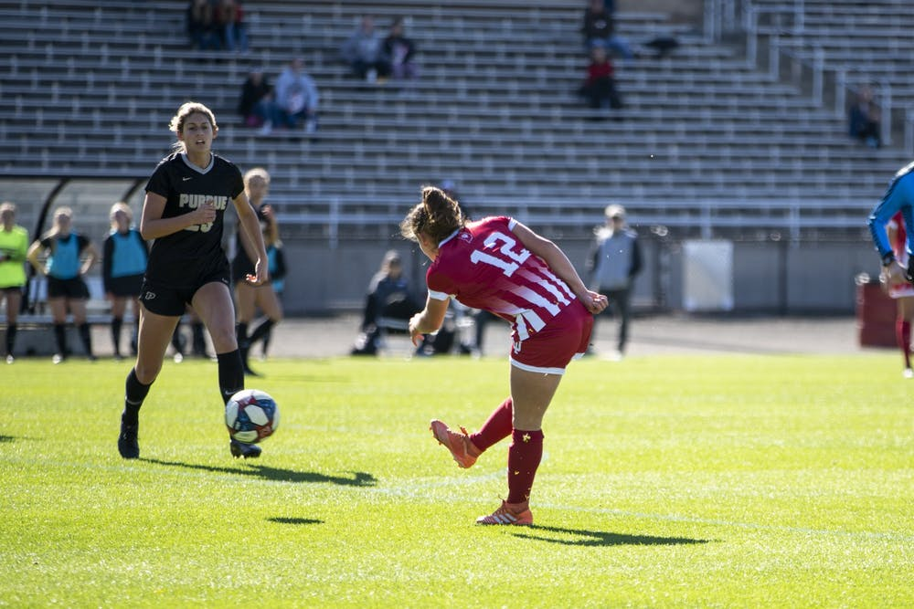 <p>Then-junior Melanie Forbes scores her fourth goal of the season Oct. 27, 2019, at Bill Armstrong Stadium. The IU women&#x27;s soccer season was postponed due to the coronavirus pandemic.</p>
