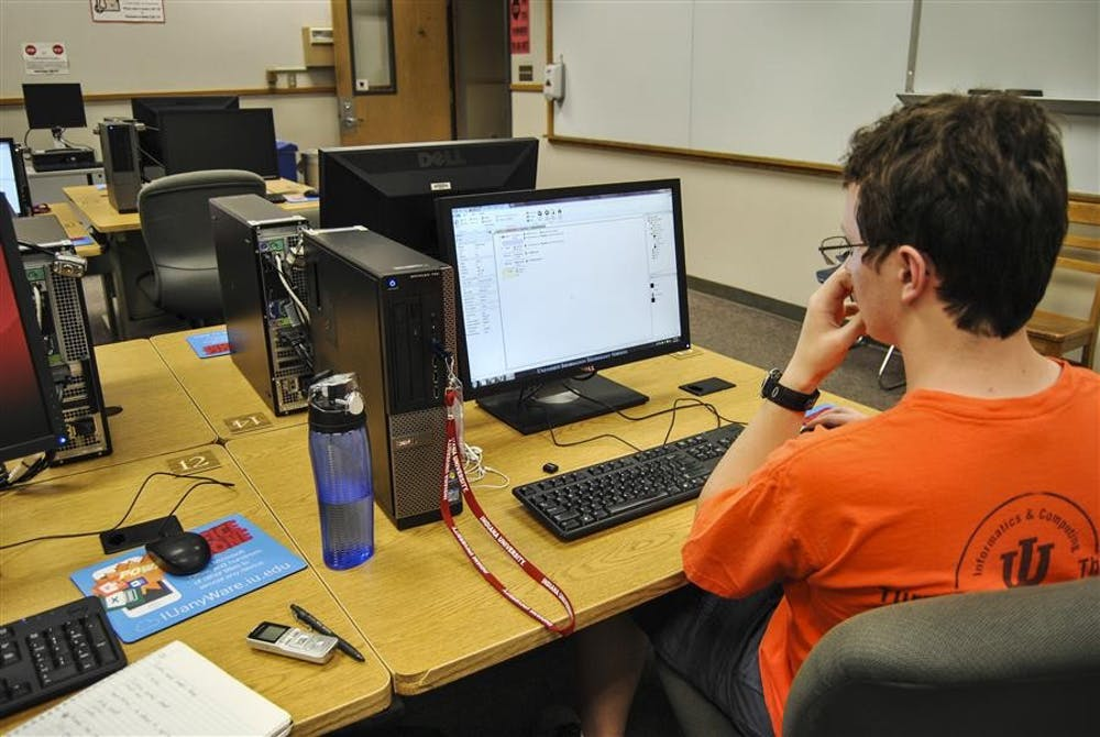 Nick Root, a senior at Bloomington High School South, works on a video game at the Game Development Camp.
