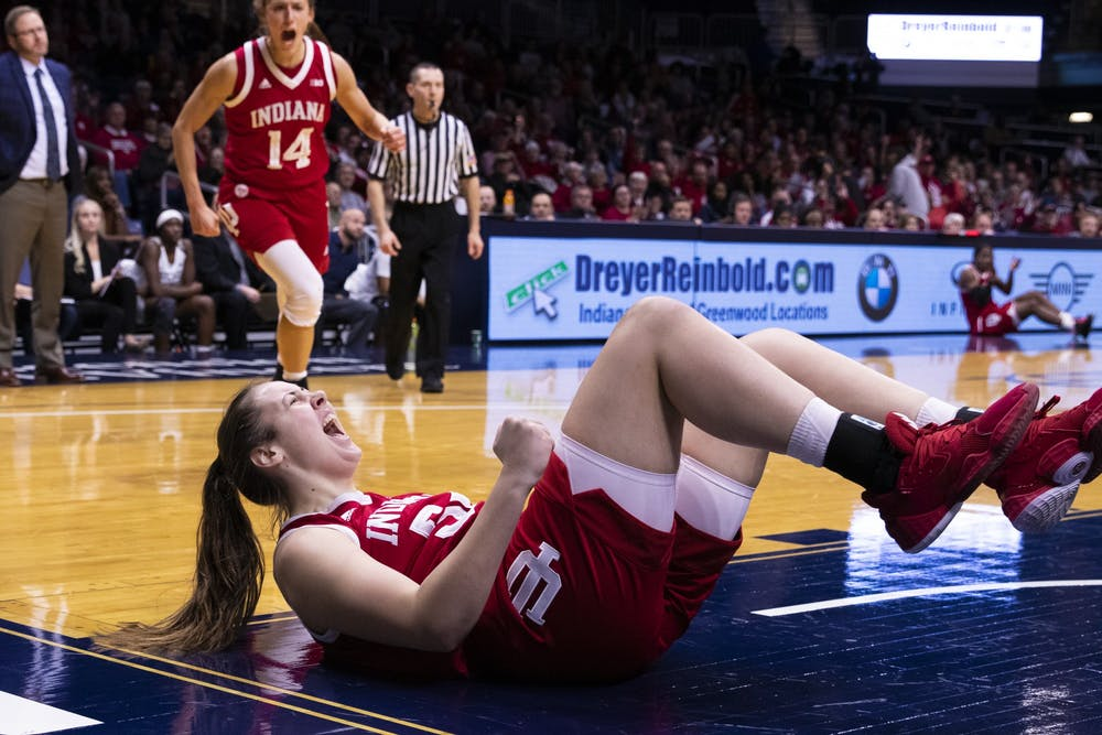 <p>Then-freshman Mackenzie Holmes shouts after drawing a foul and scoring a basket Dec. 11, 2019, at Hinkle Fieldhouse in Indianapolis. A bipartisan bill introduced to the House of Representatives Thursday aims to federally permit college athletes from profiting off of their name and likeness.</p>