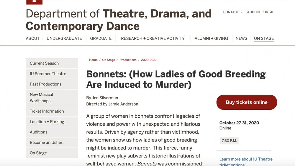 A screen grab from the IU Theatre Department's website