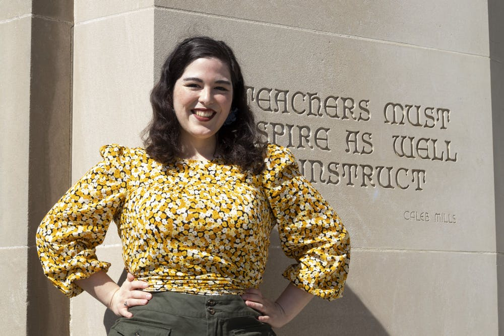 <p>Alejandra Villarreal Martinez poses for a photo March 3 in front of the Bess Meshulam Simon Music Library and Recital Center. She is a fourth-year doctoral student at the Jacobs School of Music.</p>