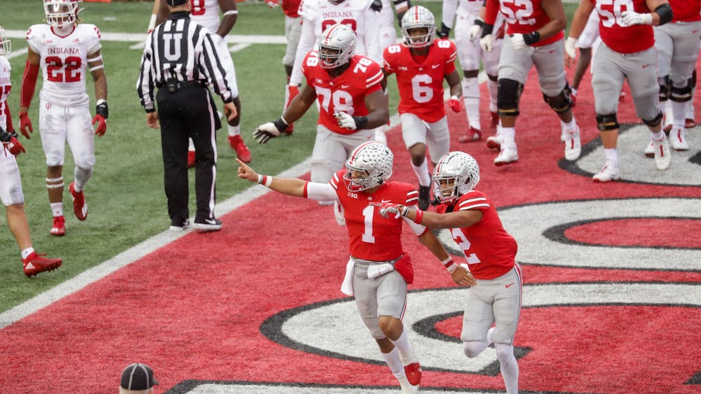 Ohio State quarterback Justin Fields celebrates after scoring a touchdown Nov. 21 against IU in Columbus, Ohio. No. 9 IU's comeback came just short Saturday, giving No. 3 Ohio State a 42-35 win.