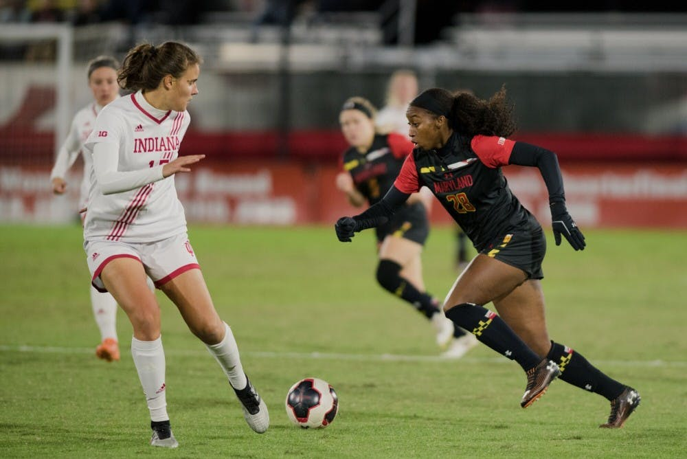 <p>Junior Hanna Németh looks to block a Maryland player Oct. 17 in College Park, Maryland. IU women&#x27;s soccer tied Maryland 0-0.</p>