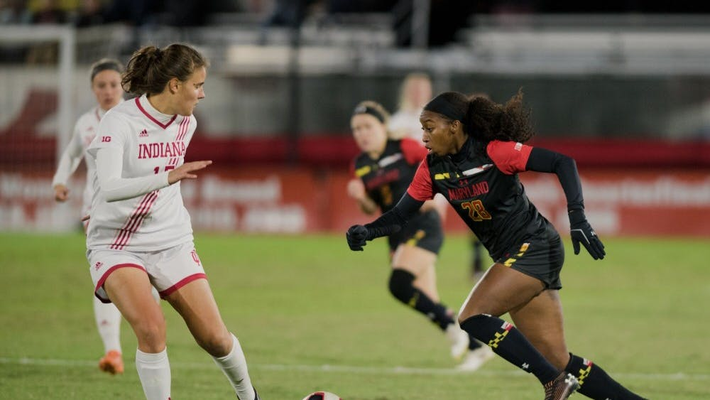 Junior Hanna Németh looks to block a Maryland player Oct. 17 in College Park, Maryland. IU women's soccer tied Maryland 0-0.