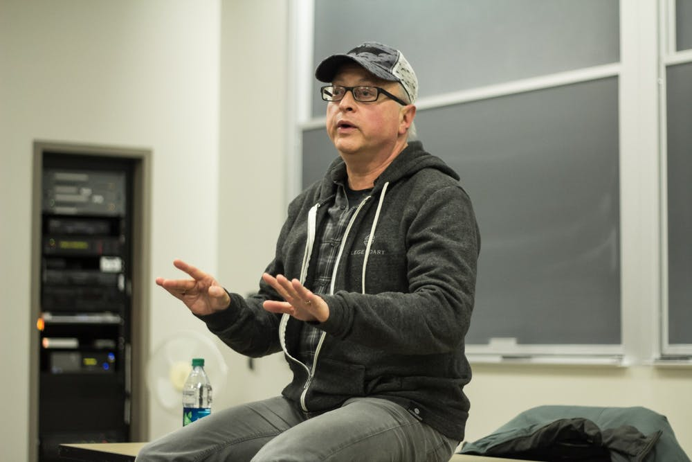 <p>Batman producer and IU alumnus Michael Uslan speaks Feb. 4, 2015, in the Ernie Pyle Hall auditorium on the future of the film and television industry. Uslan invited student to join him Feb. 9 in the Franklin Hall Commons for an Oscars watch party.</p>