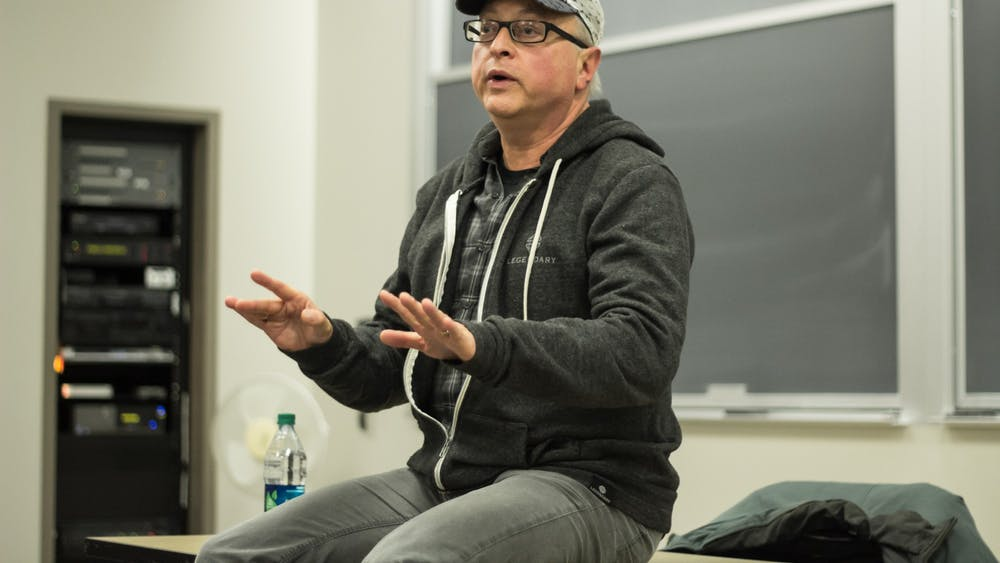 Batman producer and IU alumnus Michael Uslan speaks Feb. 4, 2015, in the Ernie Pyle Hall auditorium on the future of the film and television industry. Uslan invited student to join him Feb. 9 in the Franklin Hall Commons for an Oscars watch party.