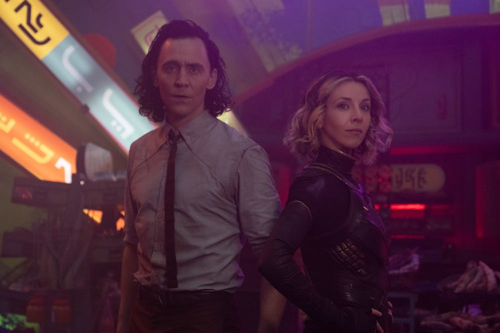 <p>Loki and Sylvie stand next to one another in the Disney Plus series &quot;Loki&quot;. The series finale began streaming Wednesday.</p>