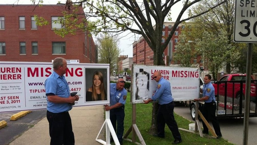 Signs detailing Spierer's disappearance have been located around Bloomington since June 2011.