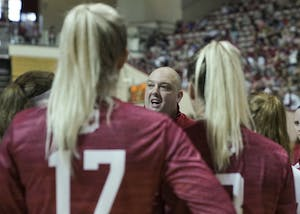 Head Coach Steve Aird instructs his players during a time out at the Cream & Crimson scrimmage in Simon Skjodt Assembly Hall. The IU volleyball team has its first game of the season against Northwestern on Sept. 21 at 7 p.m.