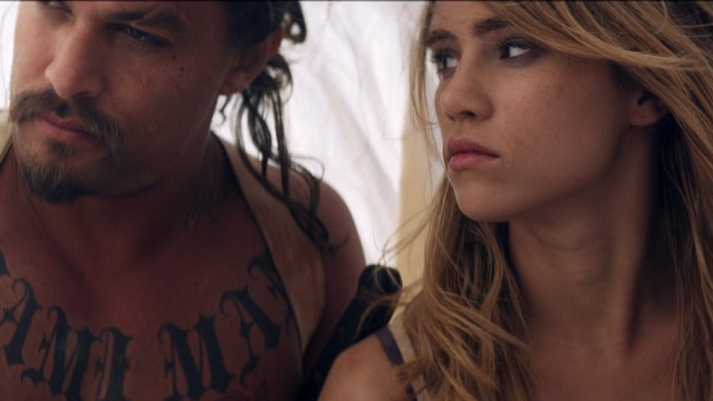 """Jason Momoa and Suki Waterhouse star in """"The Bad Batch,"""" in theaters June 23."""