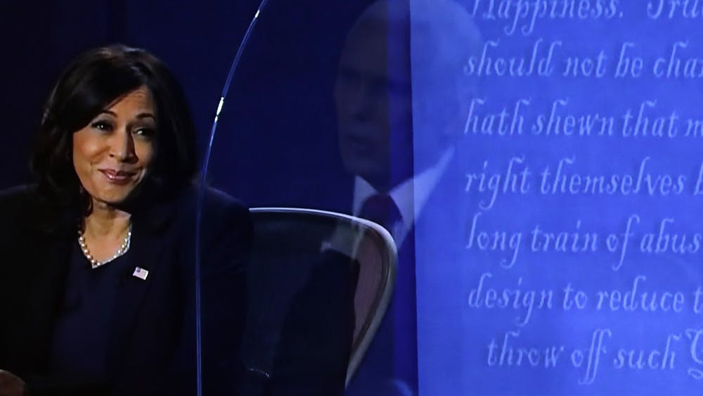 The vice presidential debate between Democratic nominee Sen. Kamala Harris, D-Calif., and Vice President Mike Pence in Salt Lake City, Utah, is seen Wednesday night on TV in Washington, D.C.