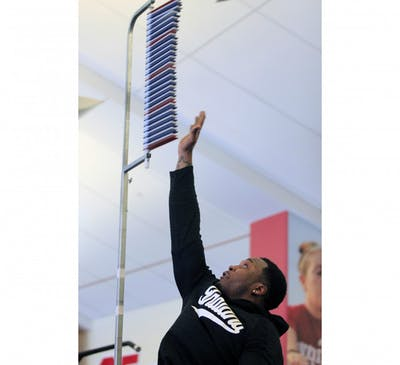 Linebacker Chris Covington participates in the vertical jump during the IU pro day Tuesday at Memorial Stadium. Covington was drafted into the NFL on Saturday by the Dallas Cowboys.