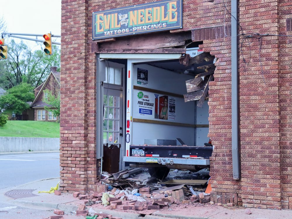 A U-Haul van appears crashed into Evil by the Needle on Sunday night. The van crash occurred around 4:45 p.m., according to MONON Rentals LLc / ALF LLc employee Brittany Davis.