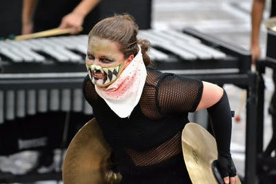 Sage Peglow performs for Veritas Percussion Ensemble on March 10 at WGI Regionals at Franklin Central High School in Indianapolis. Veritas placed third with a score of 82.85 out of 100 during the final round of competition for the weekend.