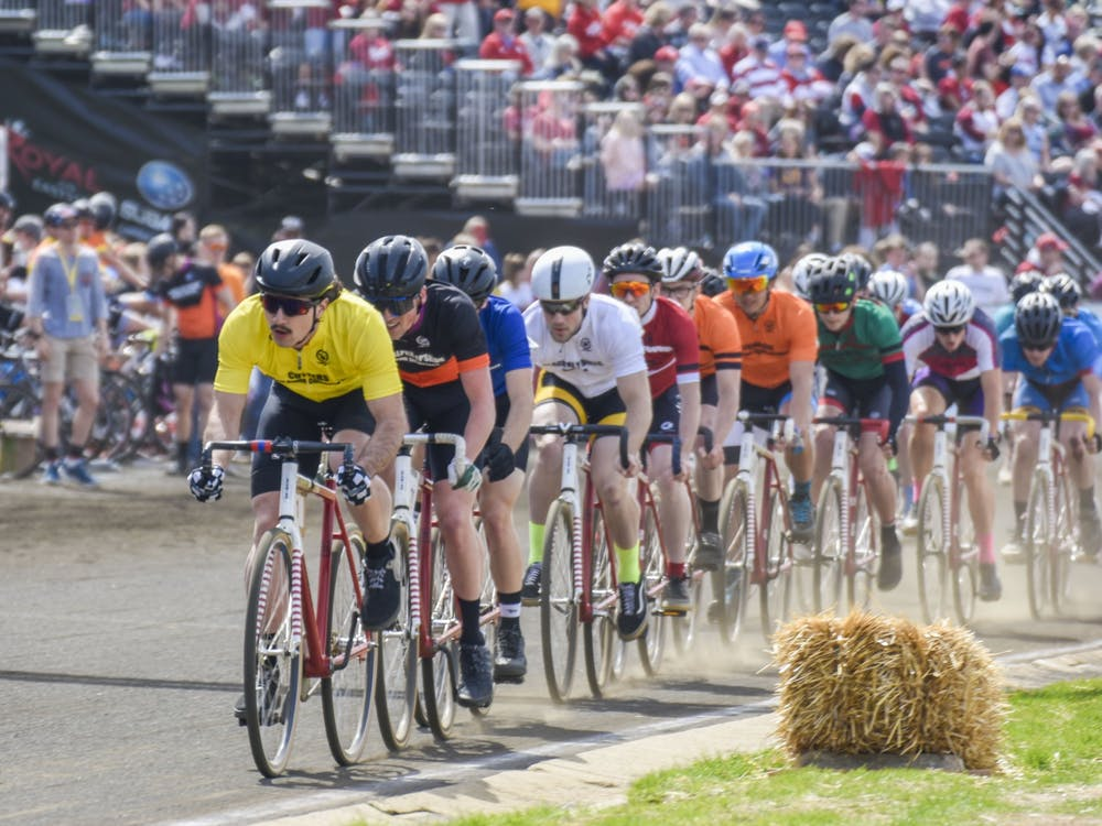 Riders race on the track during the men's Little 500 race April 13, 2019, at Bill Armstrong Stadium. IU postponed the 2021 Little 500 to May 26.