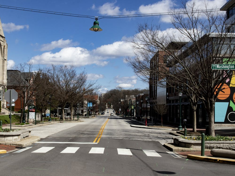 Kirkwood Avenue appears empty March 29 near the Graduate Hotel. Gov. Eric Holcomb issued a stay-at-home order March 23 asking Hoosiers to stay inside.
