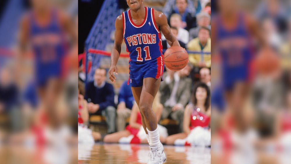 The Detroit Pistons' Isiah Thomas advances the ball during a game in the 1988-1989 NBA season. Thomas played for IU under head coach Bob Knight from 1979-1981.