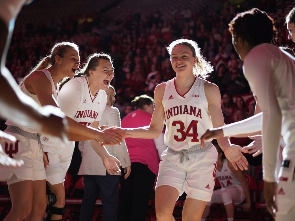Sophomore Grace Berger is introduced as part of the starting lineup Feb. 27 in Simon Skjodt Assembly Hall. Berger averages 13.3 points and 5.2 rebounds per game.