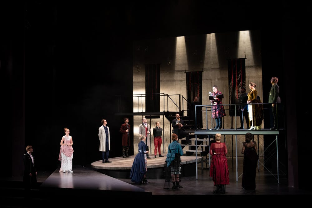 "<p>The cast of ""Hamlet"" stands on stage during the first act Dec. 3, 2019, in Ruth N. Halls Theatre. IU's Department of Theatre, Drama, and Contemporary Dance recently announced almost all events for the 2020-21 season will take place online due to the coronavirus pandemic.</p>"