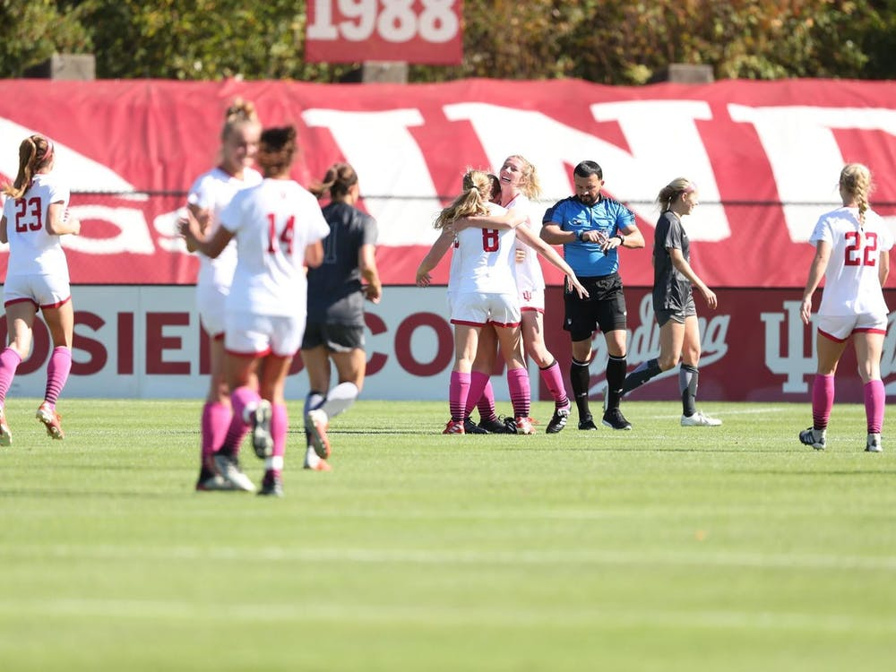 IU women's soccer team athletes celebrate on the field Oct. 13, 2019, at Bill Armstrong Stadium. The Hoosiers play Rutgers on Thursday at home.